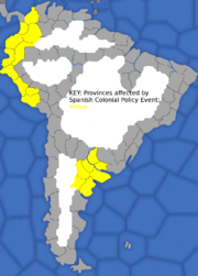"""Map showing South American provinces affected by The American Colonial Policy event"""