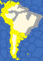 """Map showing South American provinces Spain will try to colonise"""
