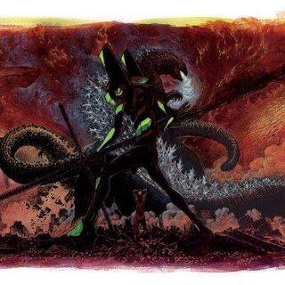 Godzilla und Evangelion Einheit 01 auf einem offiziellen Poster