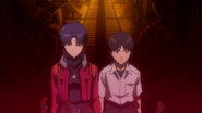 Misato with Shinji at Terminal Dogma (Rebuild)