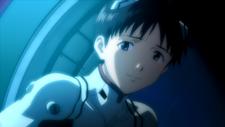Shinji sonriendo a Rei (Rebuild 1.0)