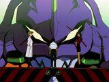 Evangelion Unidad 01 rostro intimidante