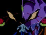 Shinji frente al rostro del EVA 01