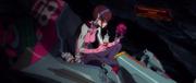 Mari playing in her Entry Plug (Rebuild)