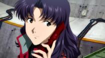 Misato en Rebuild hablando con Asuka