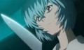 Rei looking at a knife (Rebuild).png