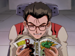 Makoto Hyuga lee un manga en Magmadiver
