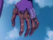 Evangelion Unidad 01 quemadura en la mano