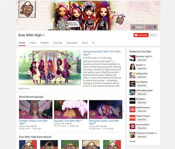 Ever After High YouTube Channel Screenshot