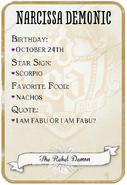 Narcissa Back Card