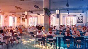 Int dining hall people sunset