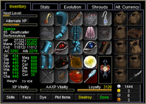 Sparxx Inventory Window