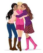 Barbie, nikki and teresa hug