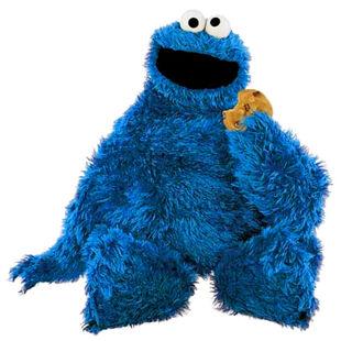 Cookie Monster sitting