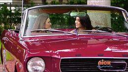 Em and Andi in car 420