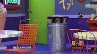 Gigi hiding in dumpster