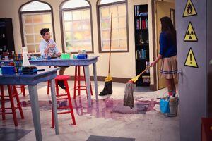 Jax helping Emma clean