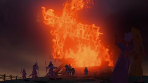 Frollo burns down the millers house