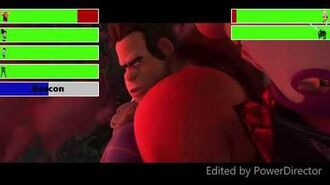 Wreck-It Ralph & Friends vs Turbo & Cy-Bugs With Healthbars