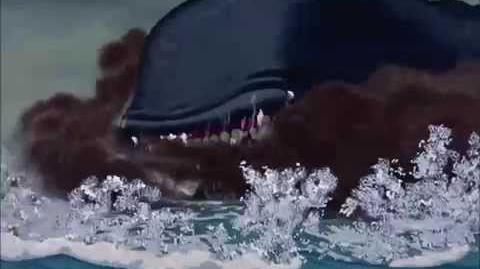 Monstro's breakdown after Gepetto and Pinocchio escape from his mouth