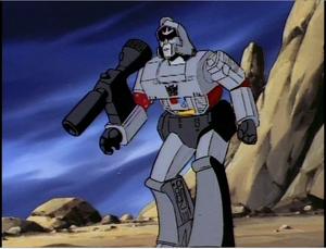 Megatron ordering his Decepticon henchmen to transform and attack