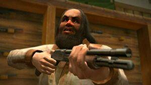 Cletus celujący bronią w Jamesa i Franka