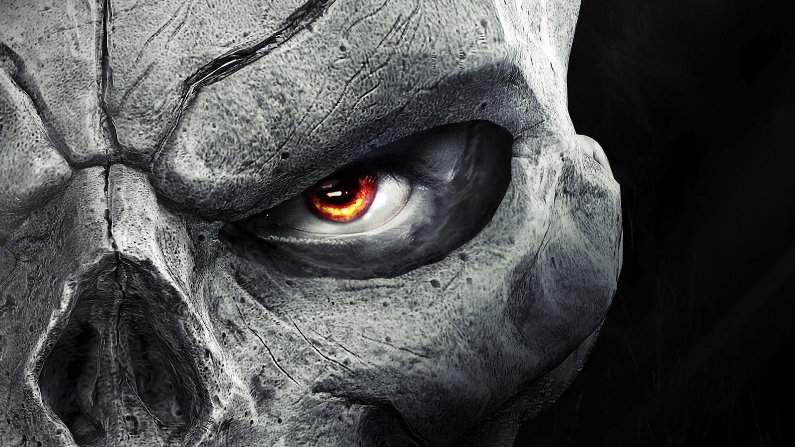 Darksider 2 Skull MasK Flaming Eyes Grey HD Wallpaper GWb