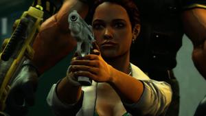 Isabela Keyes z pistoletem