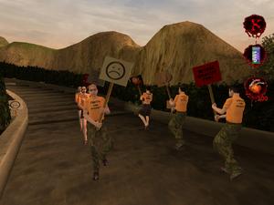 Przeciwnicy RWS protestujący przed Biurowcem RWS