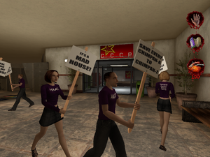 Członkowie HAAT protestujący przed Schroniskiem Creature Control Center and Pets