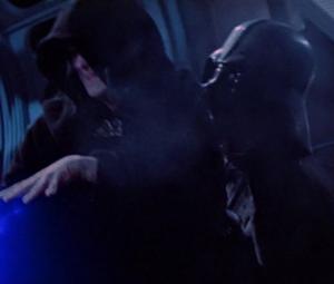 Darth Vader standing up to Emperor Palpatine