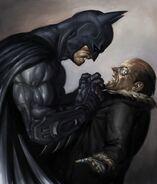 Batmanarkhamcity scene batman and penguin