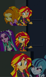 The Dazzlings threateningly intimidates Sunset Shimmer