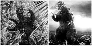 Artwork of Godzilla depictiong how he changed 1954
