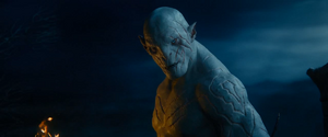 Azog ordering his orcs to continue the chase of Thorin and Company