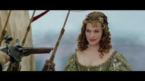 Three musketeers bring back the necklace and find Milady jumped ship to commit suicide