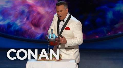 "Bruce Campbell Cuts Conan's Sandwich, ""Evil Dead"" Style - CONAN on TBS"