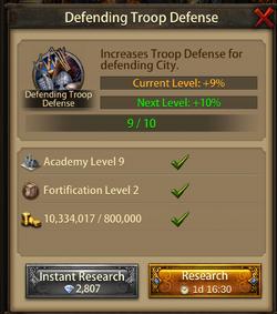Defending troop Defense10