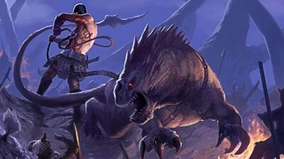 R169 457x256 13958 The Beastmaster 2d fantasy beast battle warriors monster picture image digital art
