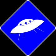 Дорожній знак НЛО (обернений колір)