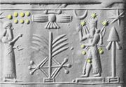 Rose quartz cylinder seal-Marduk and Pleiades
