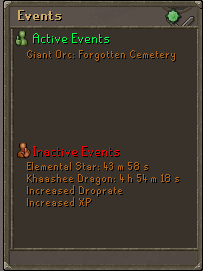 Events tab