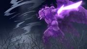 O Susanoo de Sasuke acaba com o Tufão de Fūshin