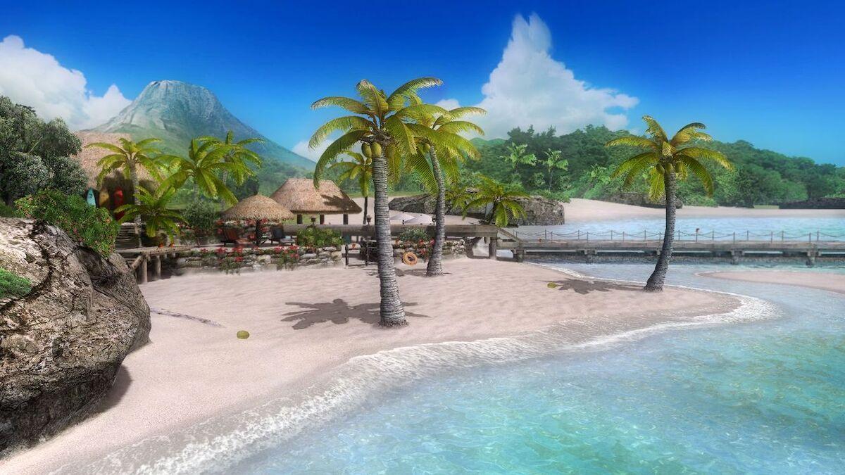 Cabanas on the shore of New Zack Island