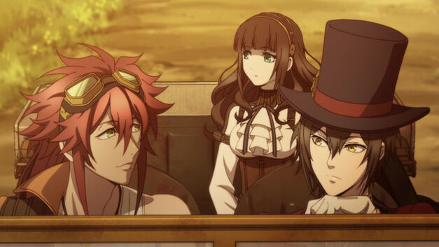 Cardia and the boys riding around town in Code-Realize