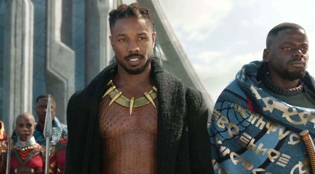 Killmonger and W'Kabi stand side-by-side.