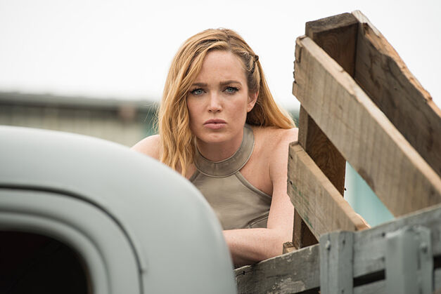 "Caity Lotz as Sara Lance/White Canary in the Legends of Tomorrow Season 2 premiere, ""Out of Time."""