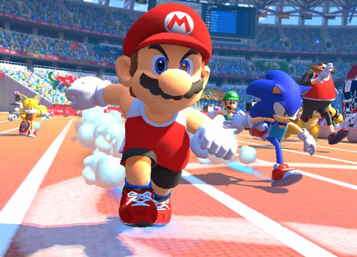 Mario in the lead in Mario and Sonic at the Olympics