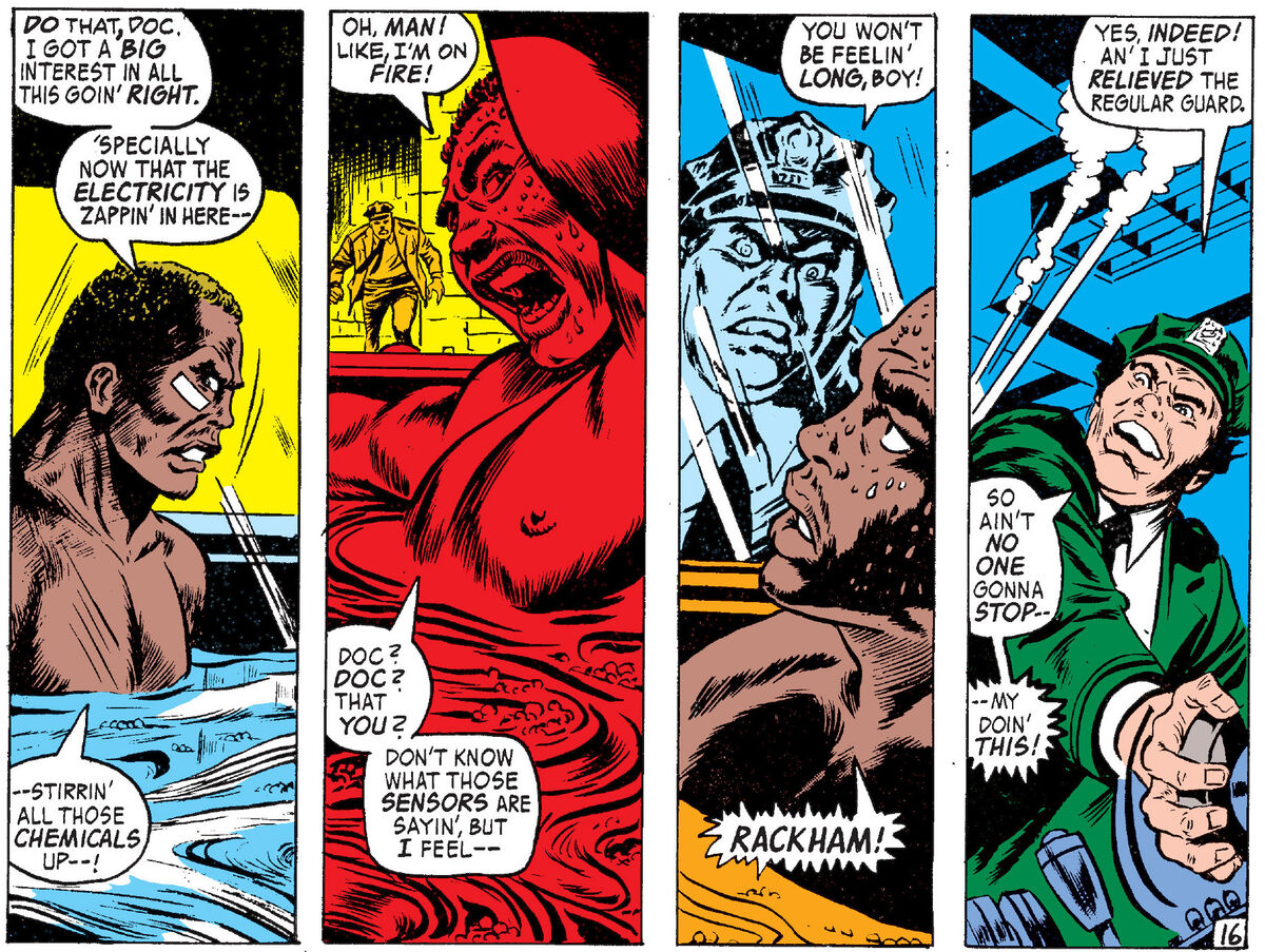 Panels from comic with Luke Cage in a hot tub and guard turning the heat up too high