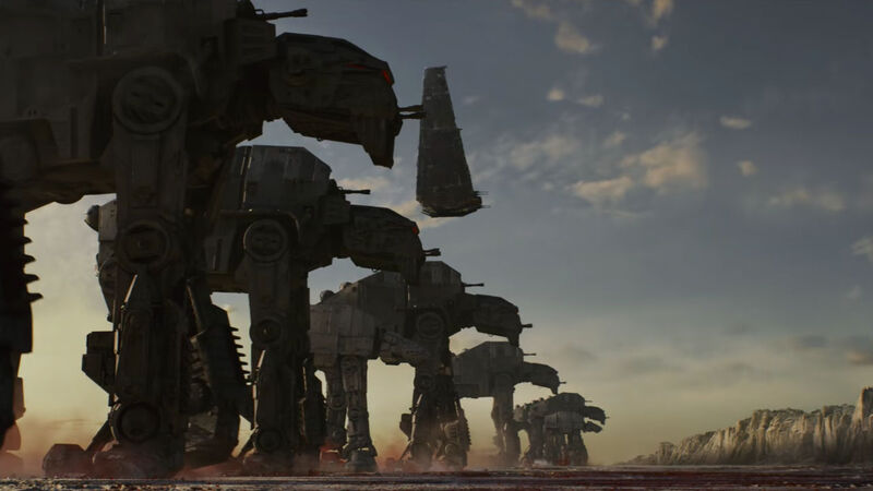 Crait AT-ATs in The Last Jedi